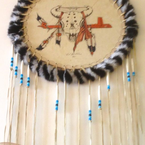 Artist: Unknown/ Rawhide Medallion/Paint, Beads,