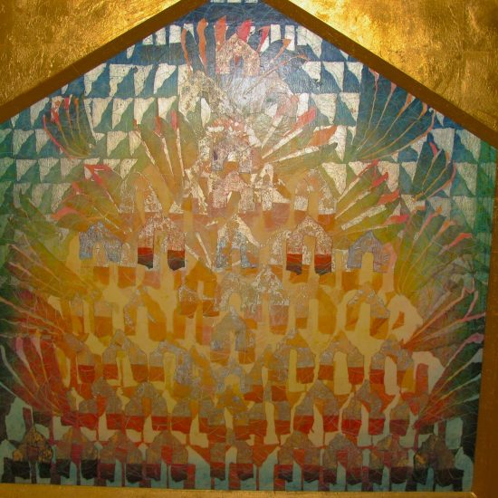 Artist: M.Ikemura/Collage & Gold leaf panels/Rice papers, photographs, colored pencils/ Archived at St. Gabriel due to renovation- 2015 (value: $10,000)