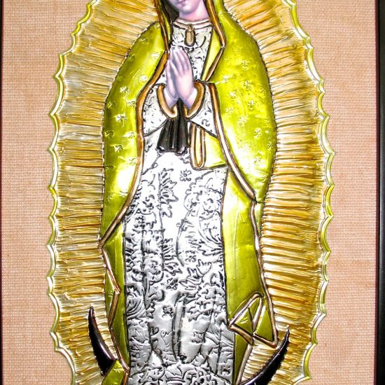 Artist: Unknown/Our Lady of Guadalupe – Embossed Metal – (value unknown)