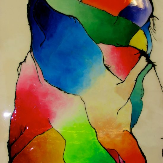 Artists: Ms. Thauvette & Students /Abstract Expressionism – inspired by Alex Janvier                     & Wassily Kandinsky/Acrylic on Canvas/Masonite with Resin Coat