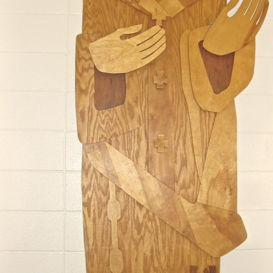 Artist: Unknown (possibly Al Gerritsen) Wood Inlay (value: donation from St. Francis of Assisi Parish)