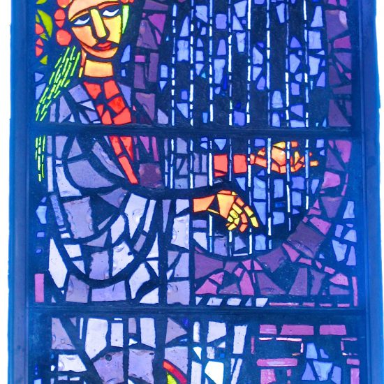 "Artist: Unknown/ ""St. Cecilia"" Stained Glass (value unknown)"