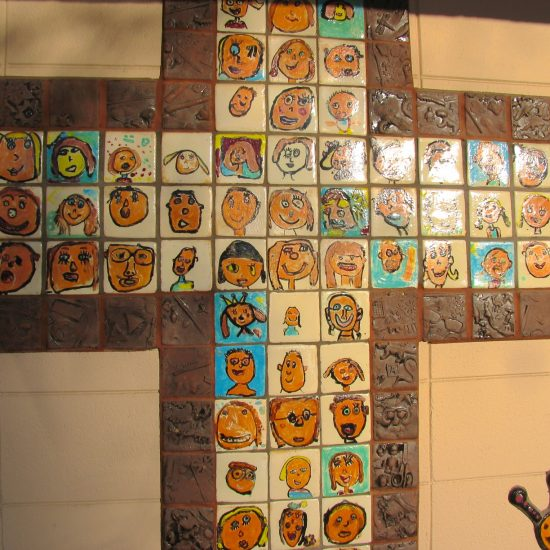 Artist: Debra Bryan/2 Murals/Student Painted Glass & Clay Relief Tiles (value unknown)