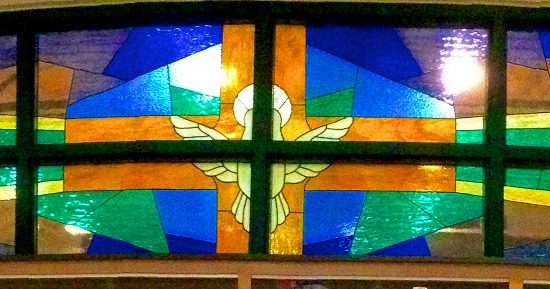 Artists: Unknown/Stained Glass/1 large Mural, 2 panels & 3 crosses