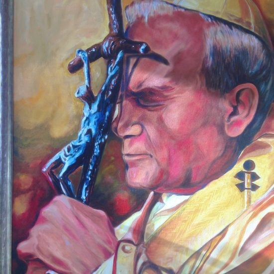 "Artist: M. Tkaczyk/""Pope John Paul"" Oil on Canvas"