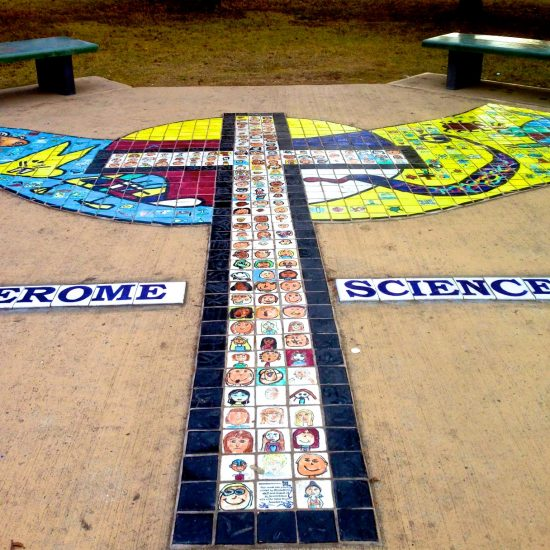 Artist: Debra Bryan/Student Painted Glass Tiles – Outdoor Classroom (value unknown)