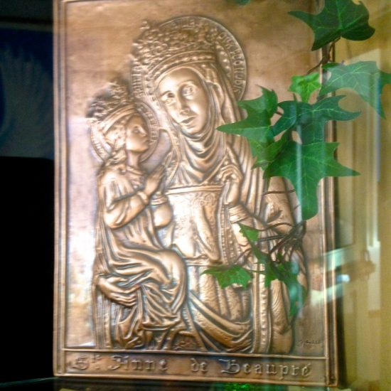 "Artist: Unknown, ""St. Anne de Beaupre"" Embossed Metalwork"