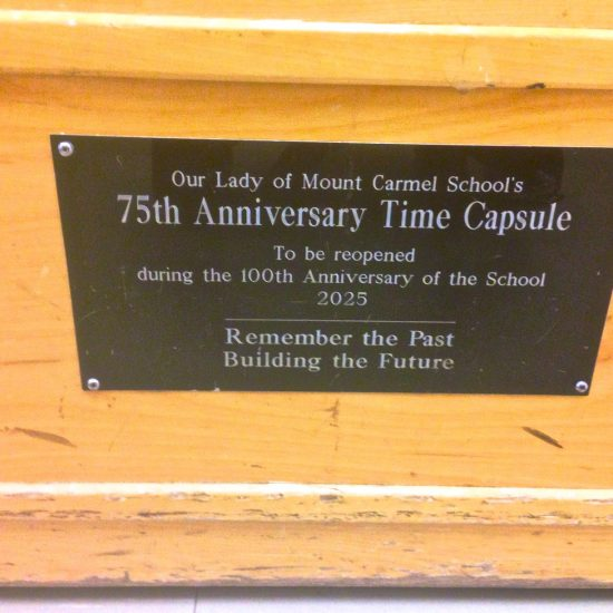 Artifact:  75th & 100th yr. Time capsules / reclaimed wooden church pews