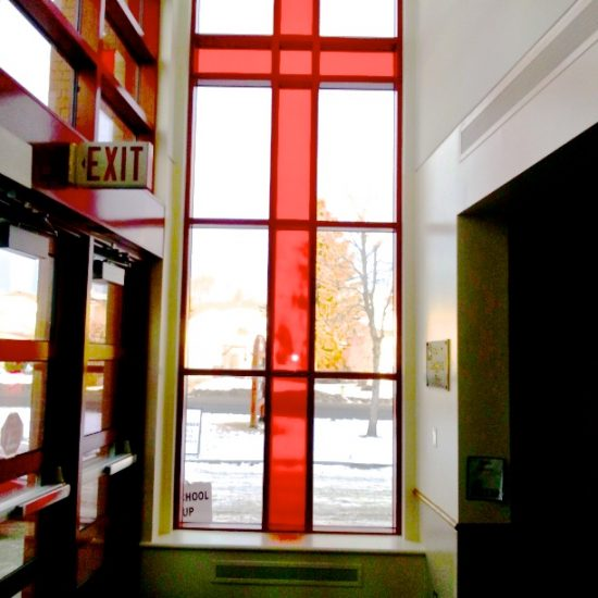 Architectural Feature: Large Stained Glass Cross (Red)