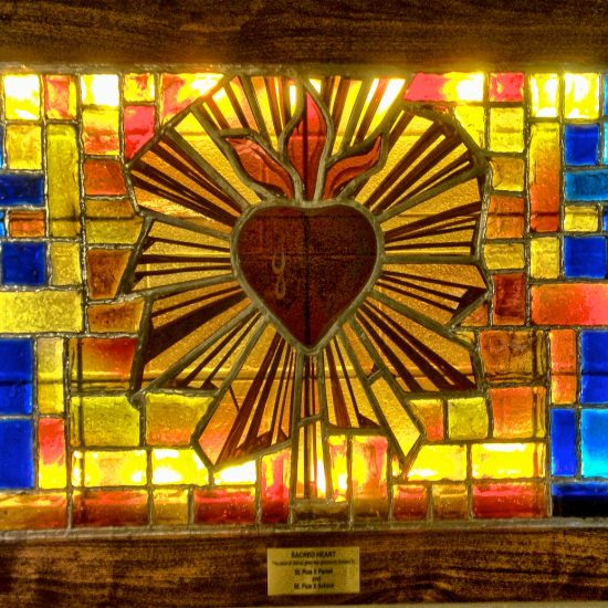 """Artist: Unknown/ """"The Sacred Heart""""/Stained Glass Panel/Origin-France"""